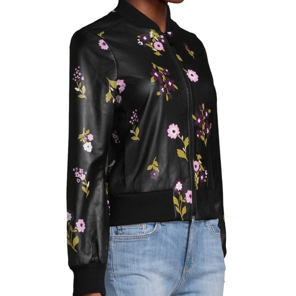 80ca79a15a8 Kate Spade In Bloom lambskin Leather Bomber Jacket